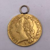 A Louis d'or Kingdom of France Gold Coin Louis XV (8.2g) 1744 with chain loop and verso minted