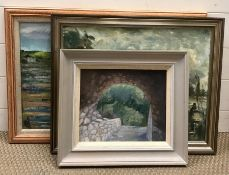 """Atributted to Audrey Woolley (1927-2018) British, """"Through the arch"""", oil on board, within a"""