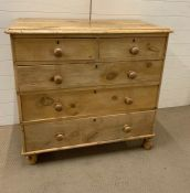 A pine chest of drawers two over three Af (H97cm W104cm D50cm)