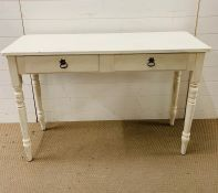 A white painted console table with two drawers (H76cm W114cm D40cm)