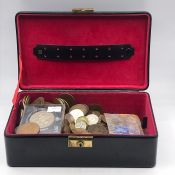 A Selection of mixed coins including Crowns, various denominations, countries and conditions.
