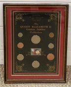 """The Queen Elizabeth II Golden Jubilee Collection"" a commemorative coins presentation pack, framed"