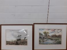 """Trevor Spinks (XX-XXI) British, a pair of watercolours """"River Culm"""" and """"Shifting Skies"""", signed,"""