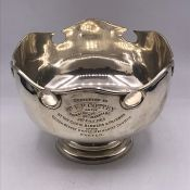 A Hallmarked silver bowl (Total Weight 325g), makers mark CE, London 1913