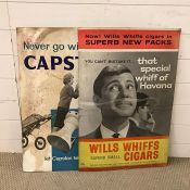 """Two vintage advertising posters/boards, """" Never Go Without a Capstan"""" and """"Wills Whiffs Cigars"""""""