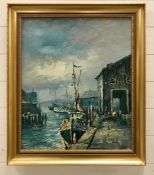 A 20th century Continental school, Fisherfolk and boats at the quay, oil on canvas, illegibly signed