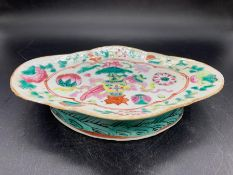 A 19th century Canton style hand paste porcelain oval footed dish, decorated with floral pattern and