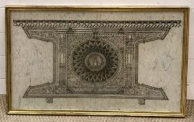 A print of asian architectural design, framed and glazed (46x74 cm). (2)