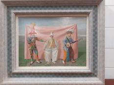 """Claude Harrison (1922-2009) RP, British, """"Three comedians"""" signed and dated '92 lower center, oil on"""