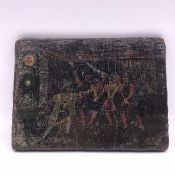 A Small panel of Richard III accusing Lord Hastings of witchcraft, dated 1483 on a label to rear.