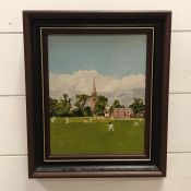 """A 20th century English school, """"Yorkshire Village Cricket"""", signed """"A.W."""" and titled verso, oil on"""