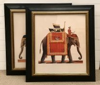 A pair of prints depicting a Mahout with his elephant, framed and glazed ( 56.5x49.5 cm each). (2).