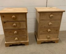 A pair of pine bedside (H60cm W40cm D38cm)