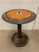 A circular lamp table with carving around the edge on spiral stem (H64cm Diacm)