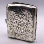 JC Ltd Birmingham 1911 silver cigarette case