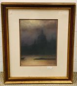 20th century English school, Moonlight on the Thames with a View of St. Paul, pastel on paper,