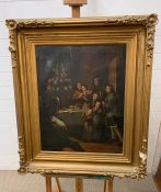 A 19th century English school, Gathered round the Christmas tree, not visible signature, oil on