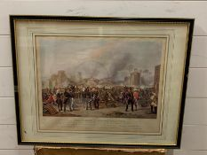 """A framed 20th century replica print of the """"The Storming of the Mooltan"""" from the series of ten"""