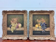 """A 20th century English school, a pair of still life of fruit, signed """"GBCook"""" and dated '84 lower"""