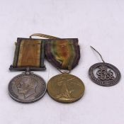 British War Medal and Victory Medal along with a wound badge for Private A Cook Welsh Borders