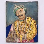 A Indian 19th century water colour ivory panel of Maharaja (12cm x 9cm)