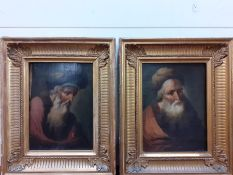A 19th century Continental school, three portraits depicting old men, unsigned, oil on panel, within