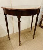 A mahogany half moon table with glass top (H76cm W75cm D40cm)
