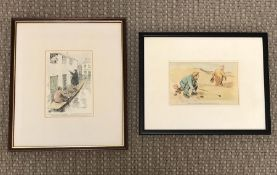 """A pair of hand-coloured satirical prints, according label verso, one published in """"The Punch"""""""