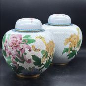 A pair of Ginger Jars, Chinese contemporary cloisonne style