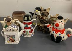 A selection of novelty teapots