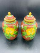 A Pair of Chinese Contemporary Cloisonne vases with lids. (18 cm H )