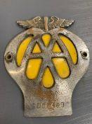 An AA car badge