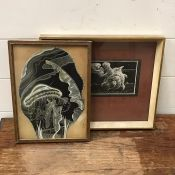 """A pair of mixed media black and white ilustrations, signed """"Joan Gilbert"""" and """"D.Smith"""", framed"""