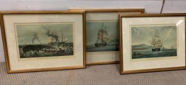 """A group of three coloured aquatint by E.Duncan after W.J. Huggins and after L.Garneray, """"Sir David"""