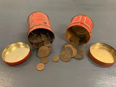 A small collection of one pennies and farthings, in a vintage Elastoplast tin