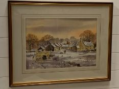 """Isabel M. Castle (act. XX), """"Winter landscape with village"""", unsigned, framed mounted and glazed, ("""