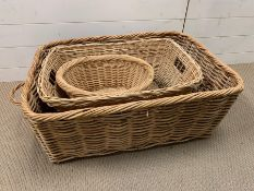 Three wicker baskets of various sizes (82cm x 60cm largest one)