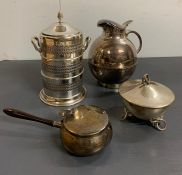 A Selection of four silver plated items to include a water jug.