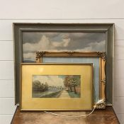 A 20th century English school, Lanscape with mountains beyond, unsigned, oil on canvas, framed (