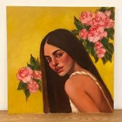 David Gainford (XX-XXI), British, Portrait of a Tahitian woman, unsigned, oil on panel, unframed, (