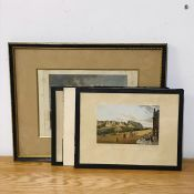 "A grup of prints depicting ""Castle of Marksburg"", ""Newark and its Castle"" and two more Views of"