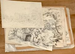 """A group of five drawings, illegibly signed, one titled """"Bridge over the West Lyn, Lynmouth"""" (sic),"""