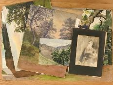A large group of watercolours depicting landscapes and interiors, some signed with initials,