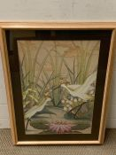 A 20th century Balinese school, White egrets in a lotus pond, unsigned, mixed media on canvas,