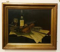 A 20th century English school, Still life with wine and violin, oil on canvas, framed (40.5x51 cm).