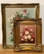 """A pair of 20th century still lifes, one signed """"Dunston"""" and the other """"Beader"""", oils on canvases,"""