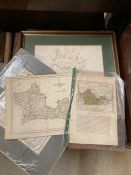 A set of historic county maps and prints, including The Neighbourhood of Windsor, after James