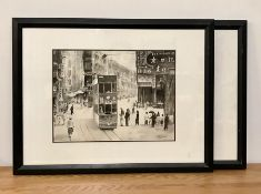"A Pair of Chinese washed inks depicting Hong Kong city scenes, ""Queen's Road"" and ""The Wanchai"