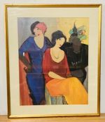 "After Itzchak (Isaac) Tarkay (1935-2012) Yugoslav, ""Waiting"", coloured lithography, framed and"