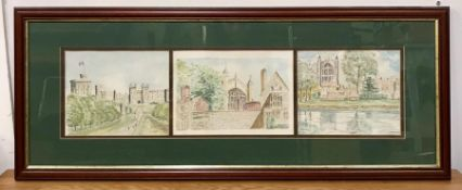 A group of three watercolours depicting views of Windsor Castle and St George's chapel, one